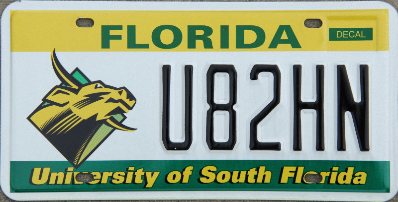 license plate info undated florida license plate reduced university of south florida excellent color and gloss tiny mark on u